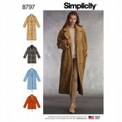 8797 Simplicity Pattern: Misses' Loose Fitting Lined Coat